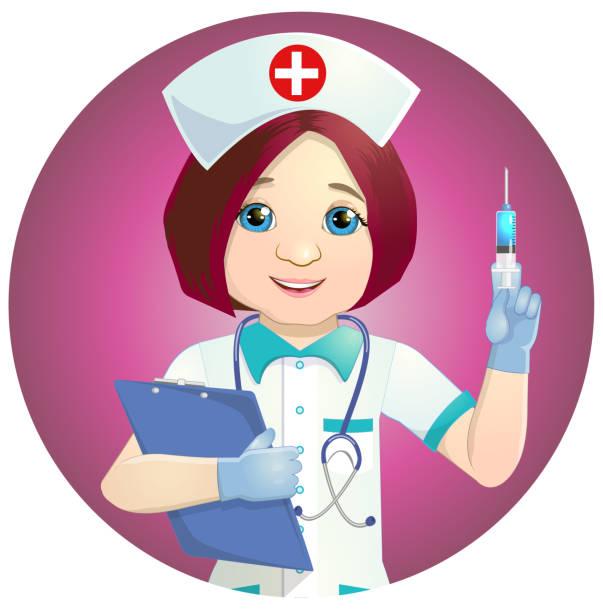 ilustrações, clipart, desenhos animados e ícones de enfermeira simpática com uma seringa - enfermeira