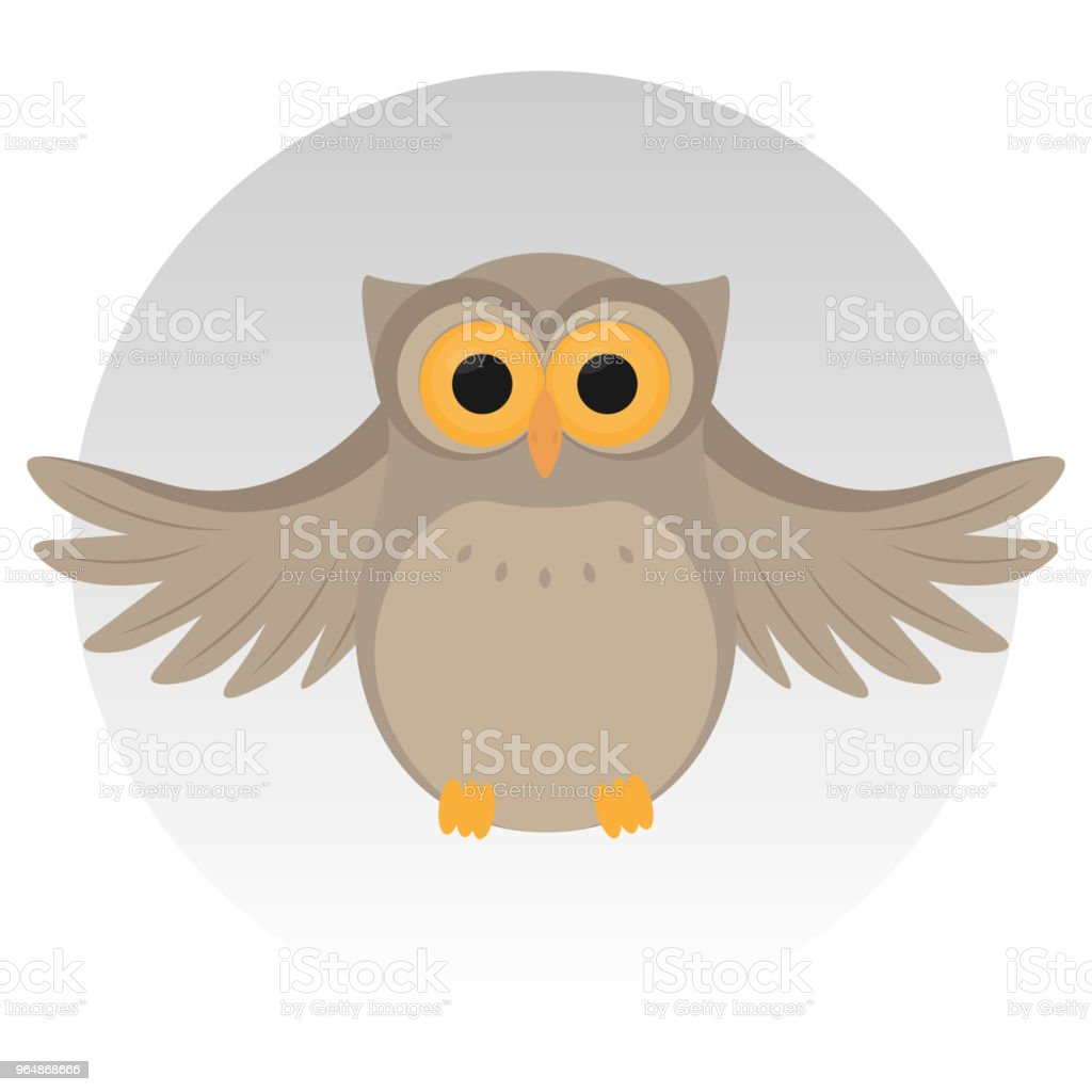 Nice owl, sit, grey background vector illustration royalty-free nice owl sit grey background vector illustration stock vector art & more images of animal