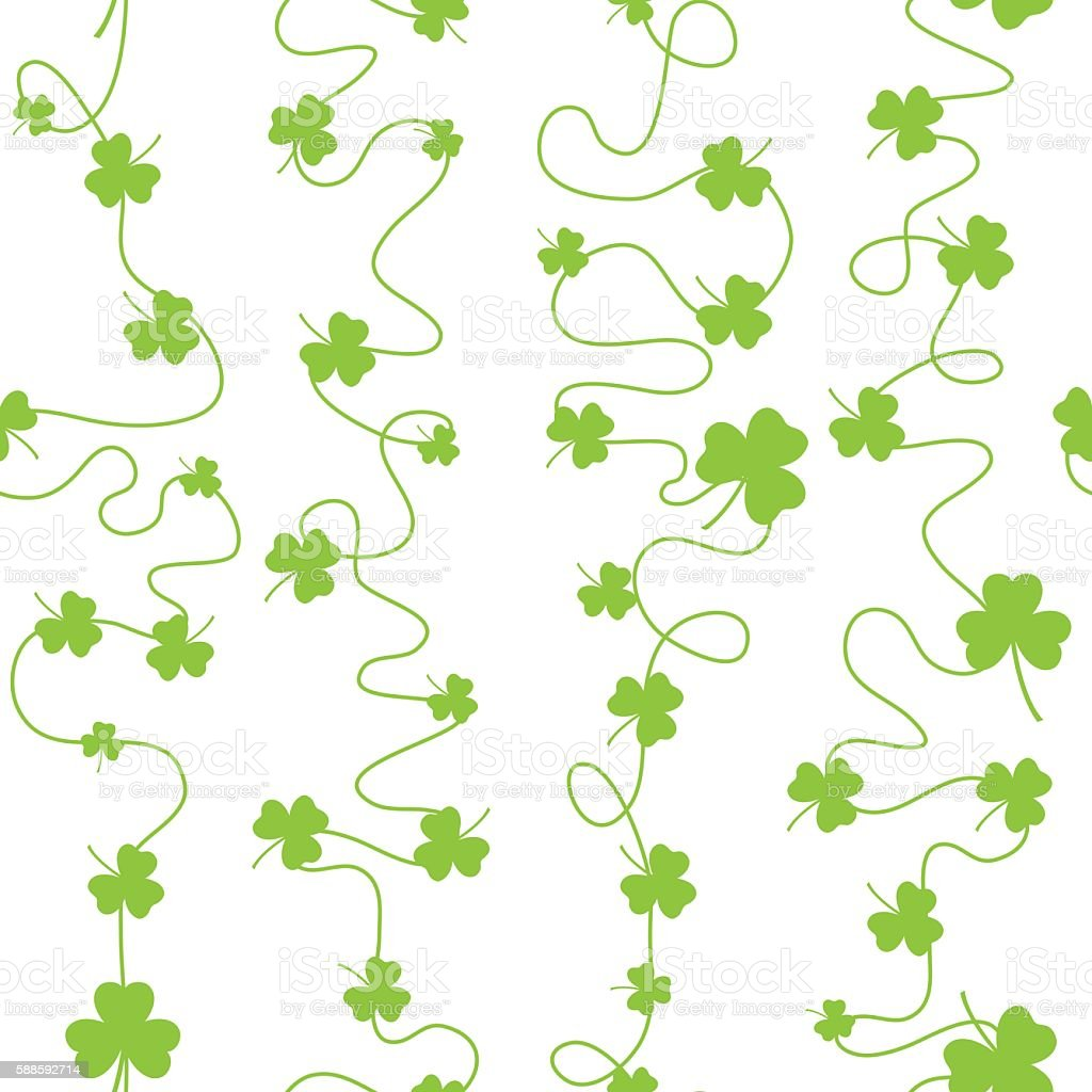 Nice pattern with clover leaves with lines on white background vector art illustration