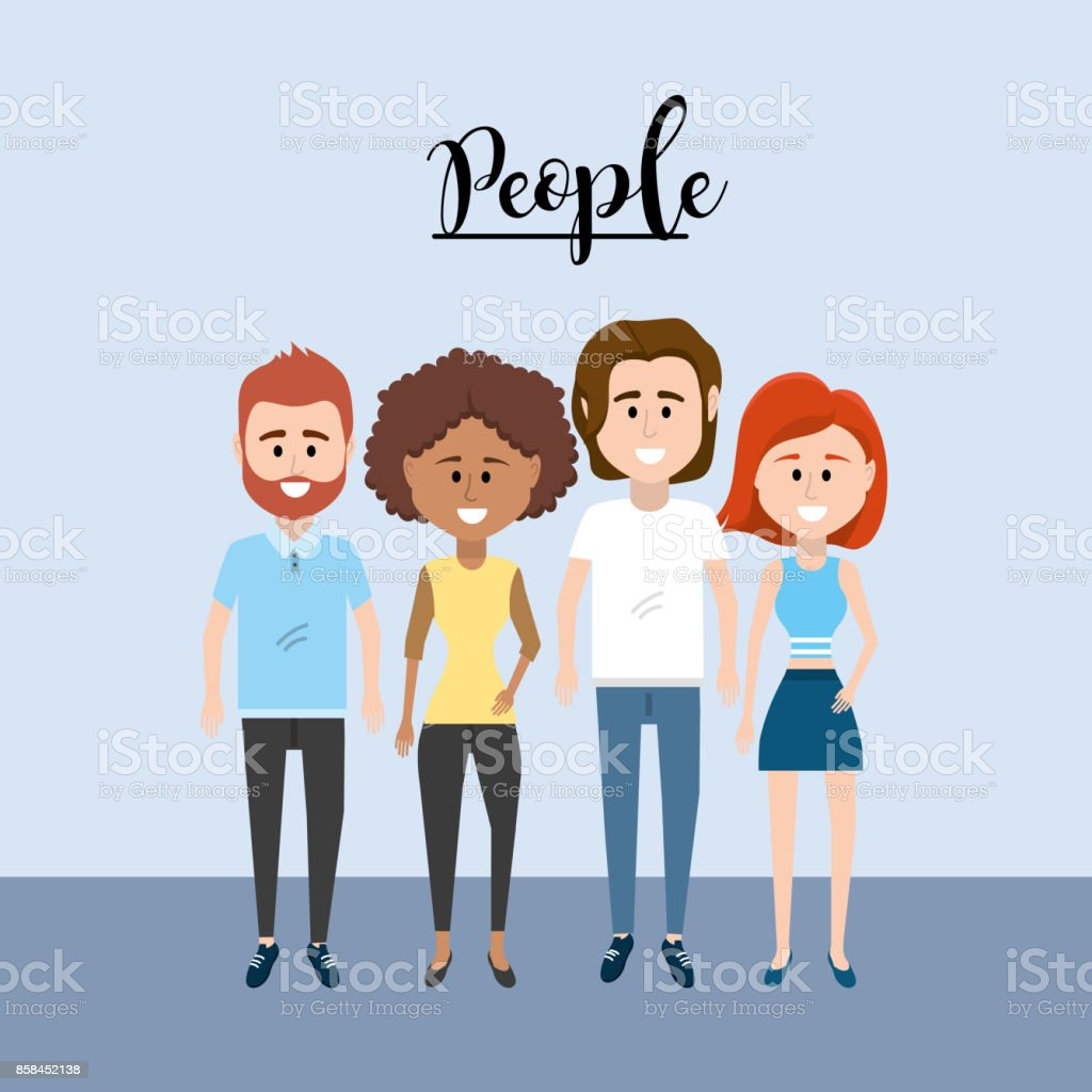 nice people together with clothes design vector art illustration
