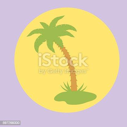 Nice Picture Of Island With Palm Trees Stock Vektor Art und mehr Bilder von Abstrakt 597266000