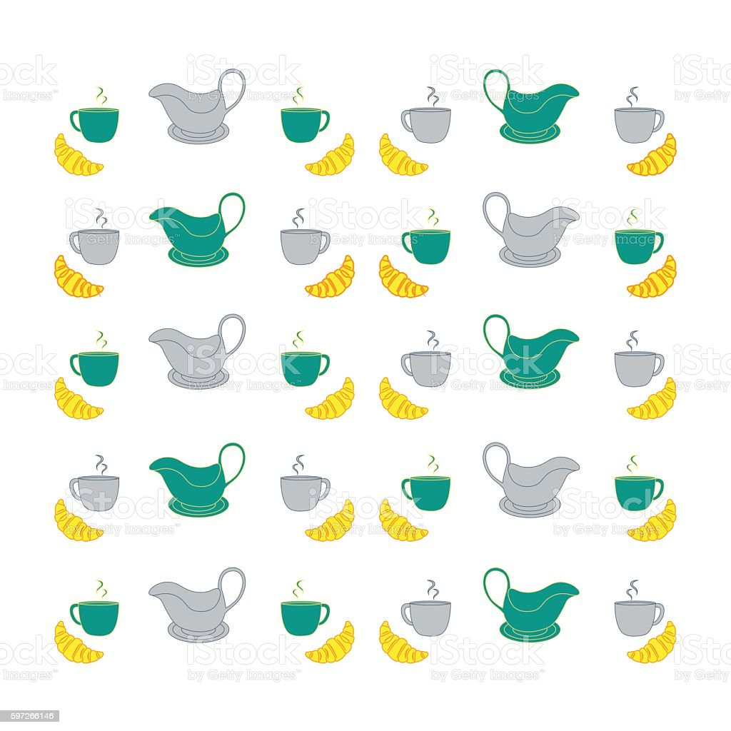 Nice picture with colorful cups, saucers, gravy boats and croiss royalty-free nice picture with colorful cups saucers gravy boats and croiss stock vector art & more images of backgrounds