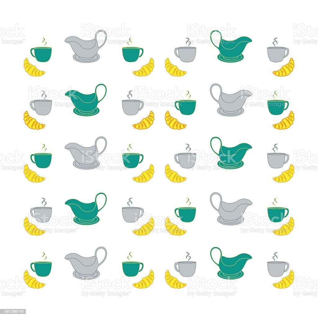 Nice picture with colorful cups, saucers, gravy boats and croiss Lizenzfreies nice picture with colorful cups saucers gravy boats and croiss stock vektor art und mehr bilder von bildhintergrund