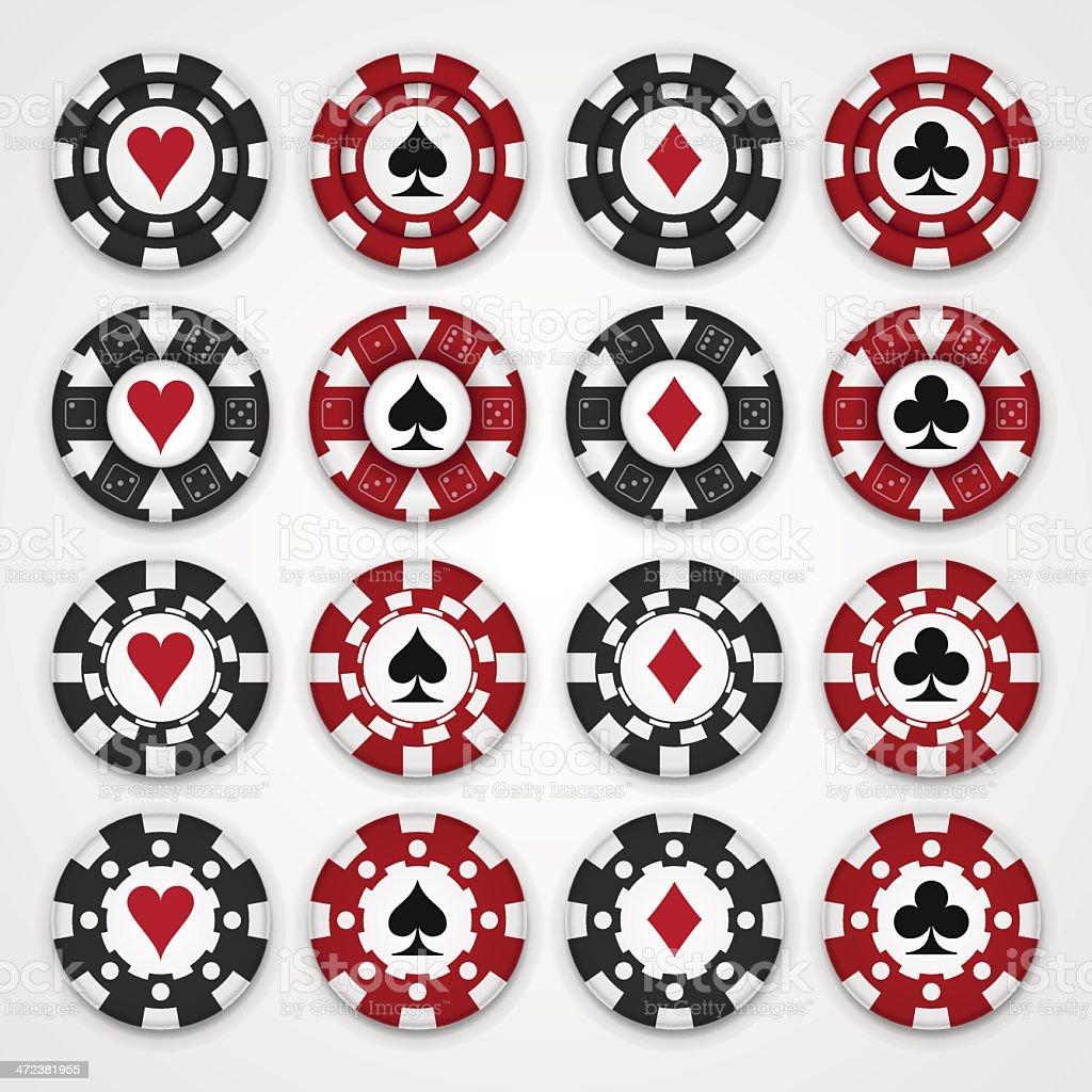 Nice set of casino gambling chips vector art illustration
