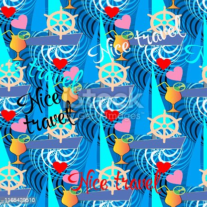 Nice travel. Colorful summer seamless pattern. Vector holiday background. Ornamental repeat backdrop. Modern bright ornament with letters, words, sailboats, love hearts, cocktails with lemon, spirals.