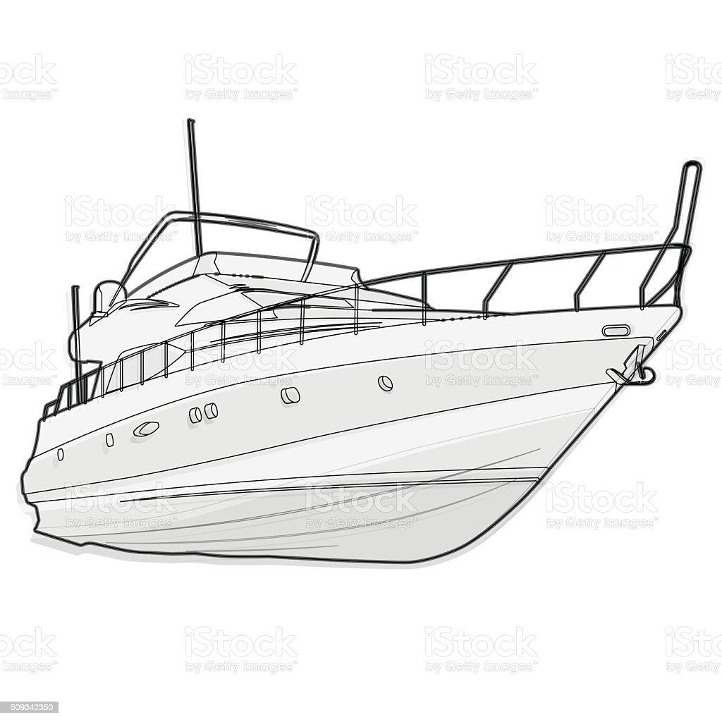 Bote de niza cable blanco y negro sobre blanco contorno for How to ship fish
