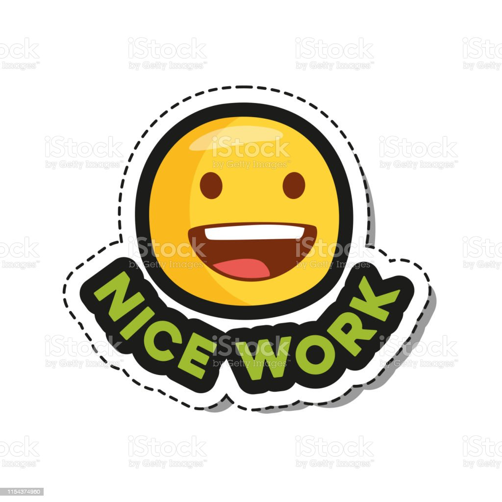 Nice Work Emoji Sticker For Social Network Stock Illustration Download Image Now Istock