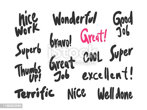 istock Nice work, wonderful, great, job, nice, well, done, super, thumbs, up, superb, excellent. Sticker for social media content. Vector hand drawn illustration design. 1186900583