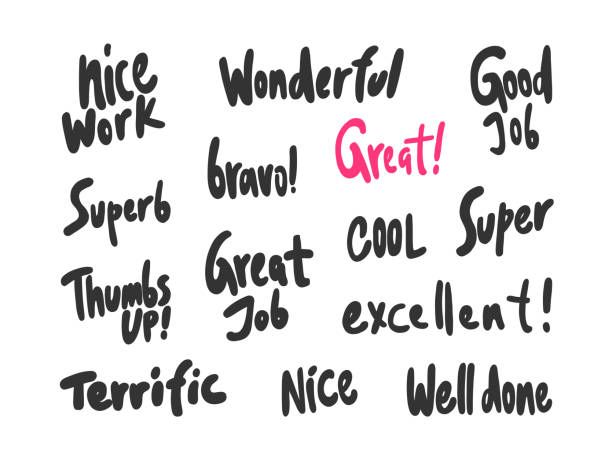 Nice work, wonderful, great, job, nice, well, done, super, thumbs, up, superb, excellent. Sticker for social media content. Vector hand drawn illustration design. Bubble pop art comic style poster, t shirt print, post card, video blog cover awe stock illustrations
