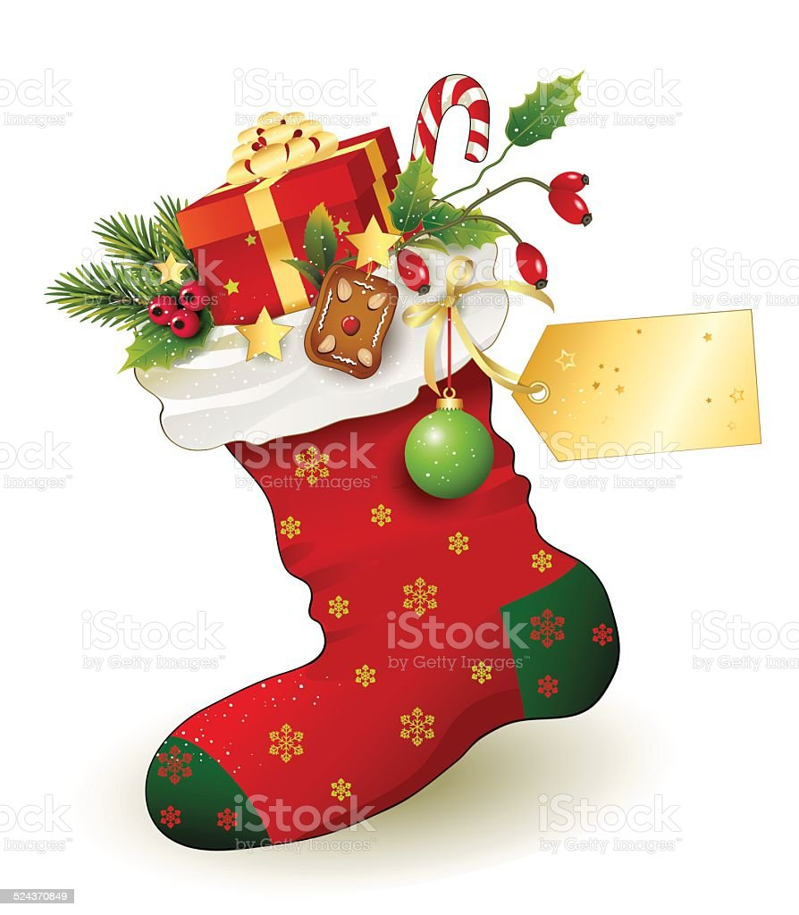 Nicholas Red Christmas Stocking with gifts vector art illustration