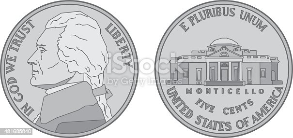 Vector illustration of a stylized US Nickel from the front and back.