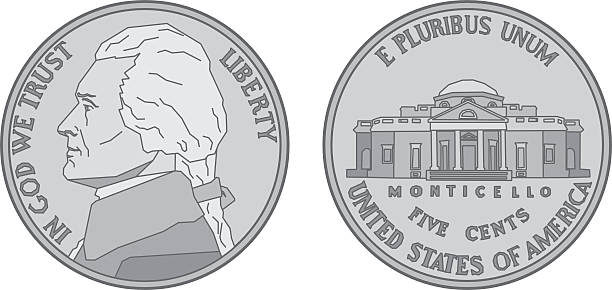 US Nickel Coin Vector illustration of a stylized US Nickel from the front and back. nickel stock illustrations