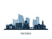 Nicosia skyline, monochrome silhouette. Vector illustration.