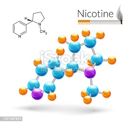 Nicotine 3d molecule chemical science atomic structure and cigarette poster vector illustration