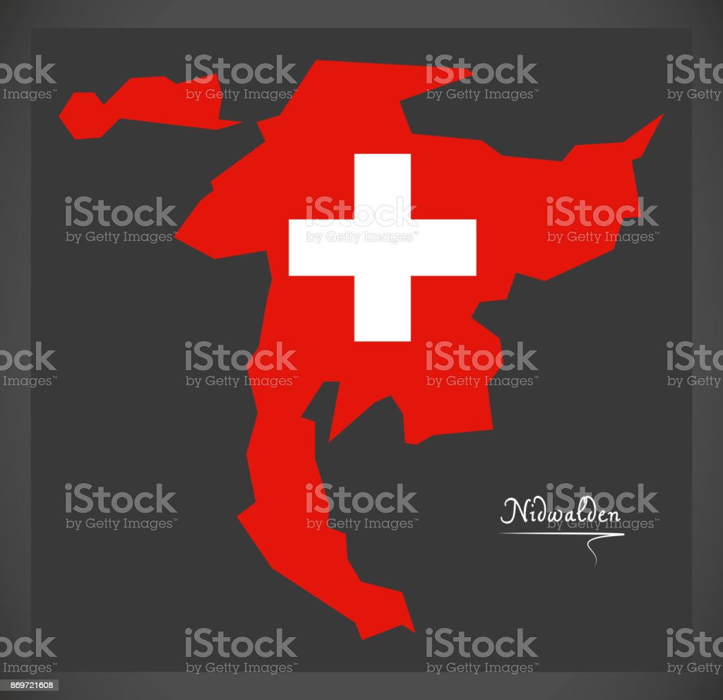 Nidwalden Map Of Switzerland With Swiss National Flag Illustration