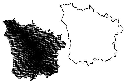 Nievre Department (France, French Republic, Bourgogne-Franche-Comte region, BFC) map vector illustration, scribble sketch Nievre map