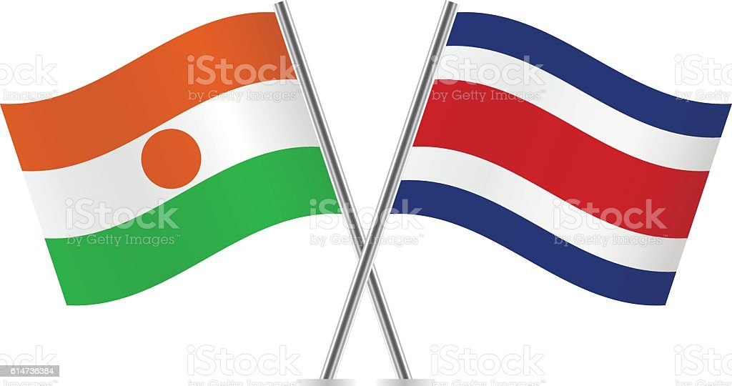 Niger and Costa Rica flags. Vector. - ilustración de arte vectorial