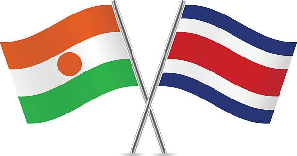 illustrations, cliparts, dessins animés et icônes de niger and costa rica flags. vector. - drapeau du costa rica