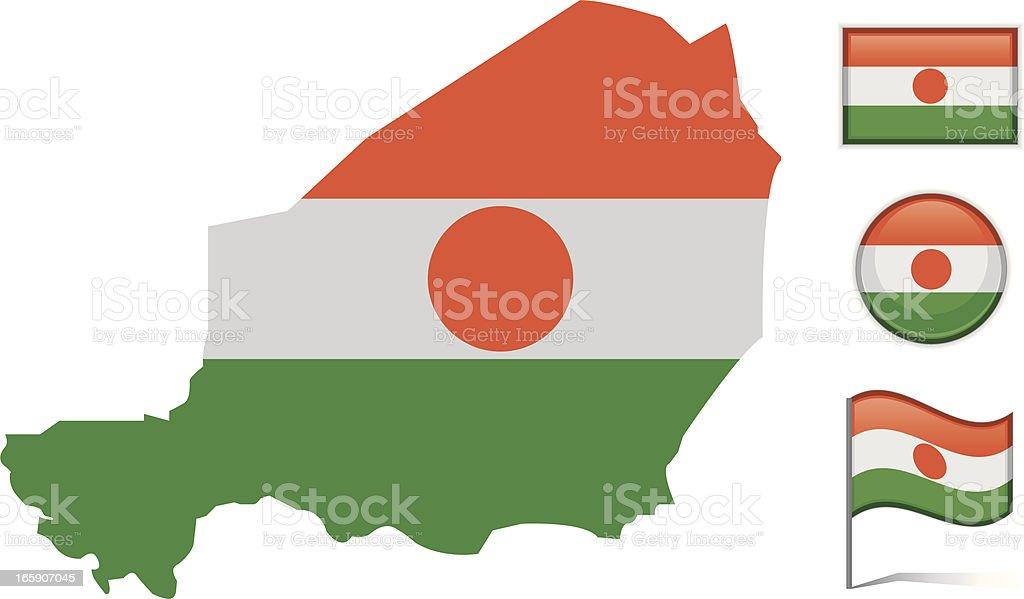 Niger map & flag royalty-free stock vector art