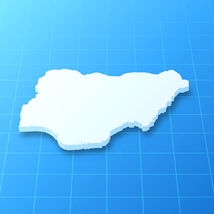 Nigeria 3D Map on blue background