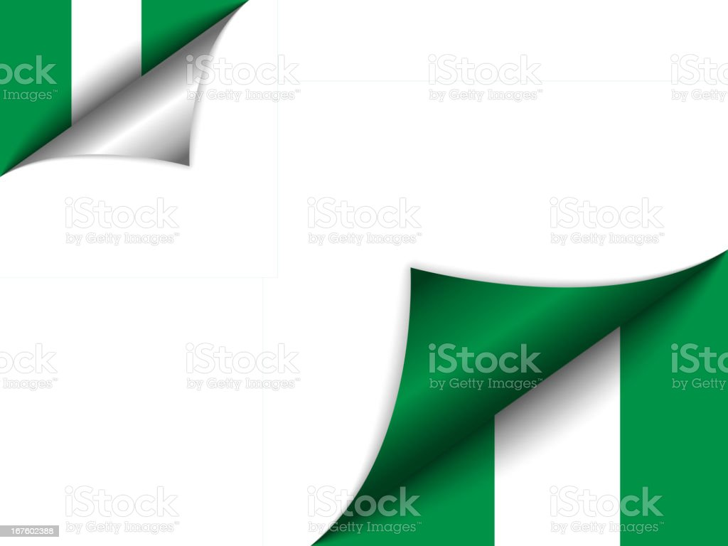 Nigeria Country Flag Turning Page royalty-free nigeria country flag turning page stock vector art & more images of angle