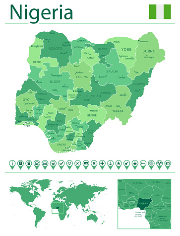 Nigeria detailed map and flag. Nigeria on world map.