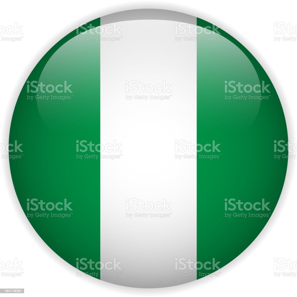 Nigeria Flag Glossy Button royalty-free stock vector art