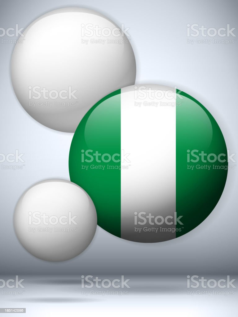 Nigeria Flag Glossy Button royalty-free nigeria flag glossy button stock vector art & more images of backgrounds