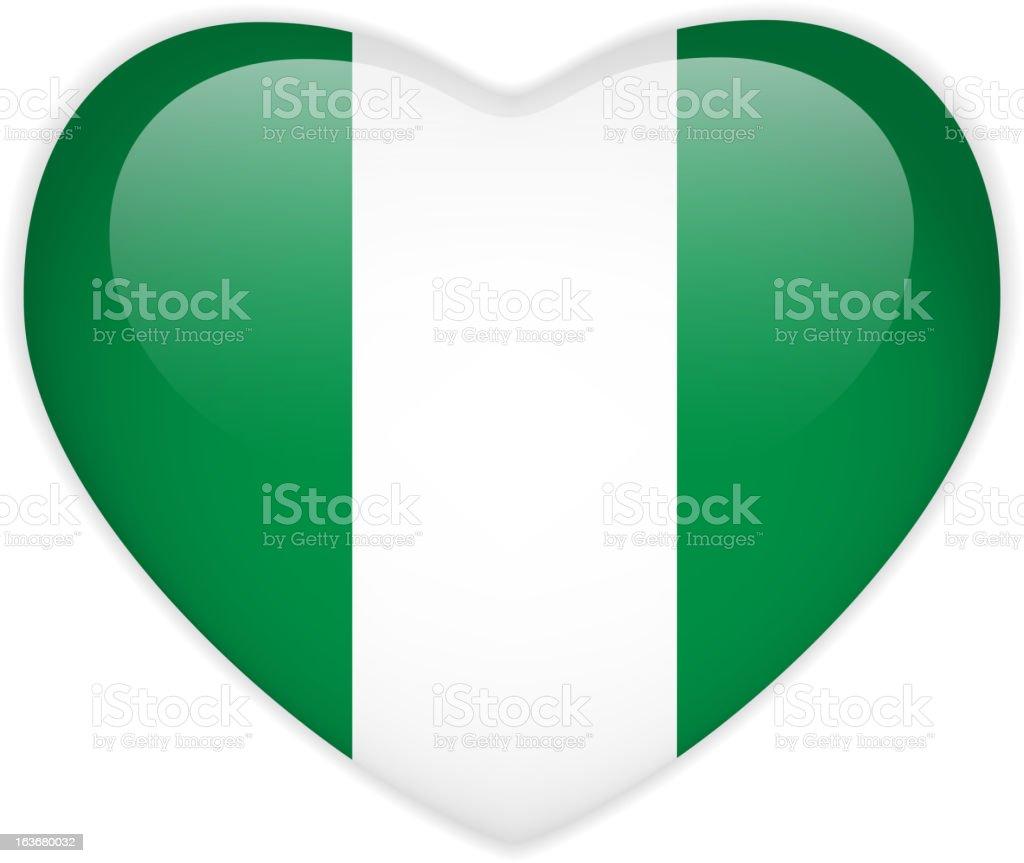 Nigeria Flag Heart Glossy Button royalty-free stock vector art