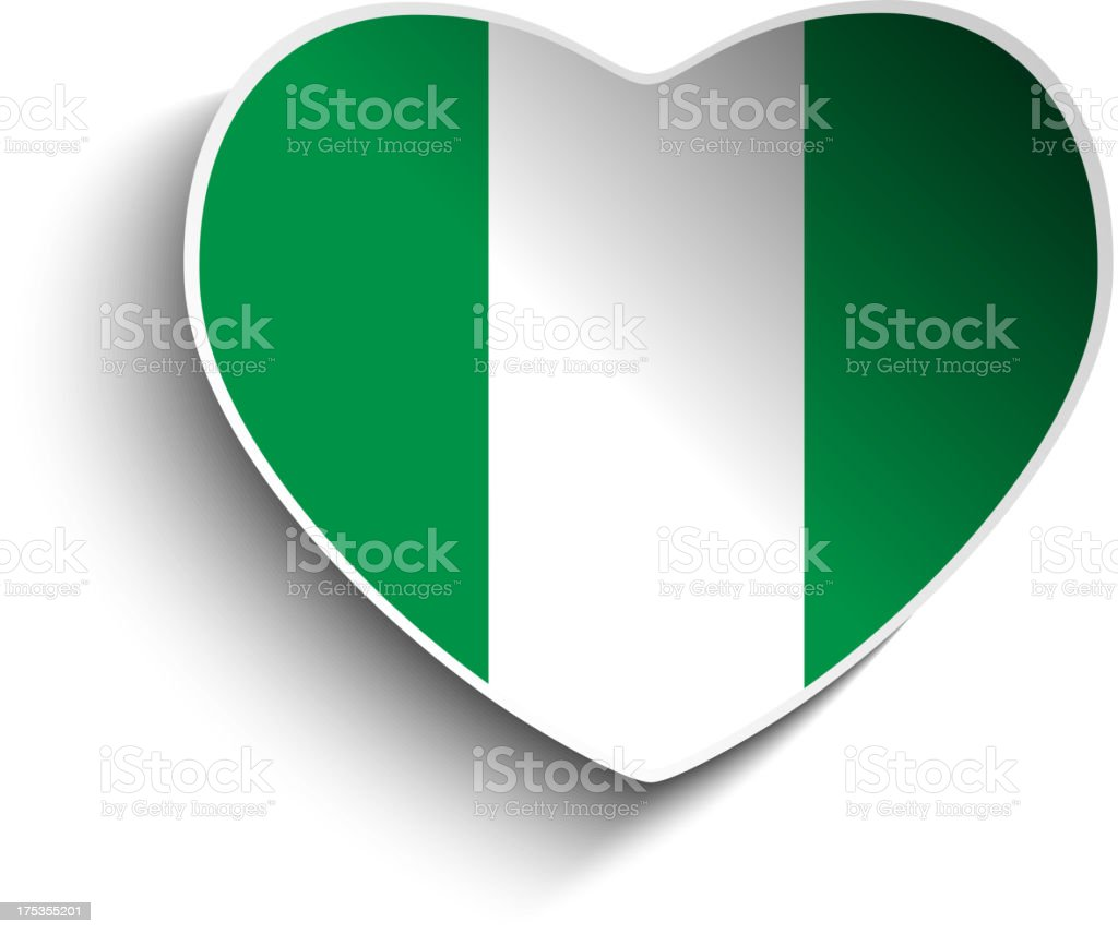 Nigeria Flag Heart Paper Button royalty-free nigeria flag heart paper button stock vector art & more images of badge