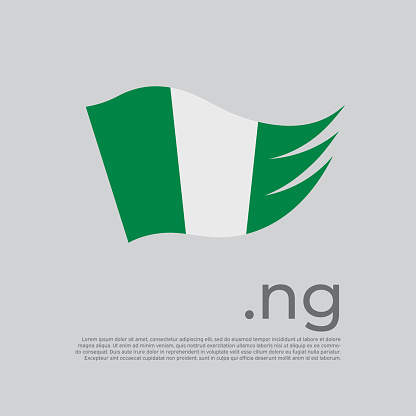 Nigeria flag. Nigerian flag painted with abstract brush strokes on a white background. Vector stylized design national poster with ng domain, place for text. State patriotic banner nigeria, cover