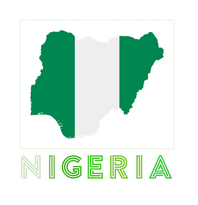 Nigeria Logo. Map of Nigeria with country name and flag.