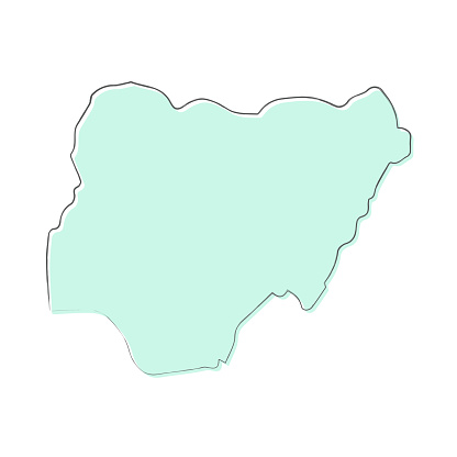 Nigeria map hand drawn on white background - Trendy design