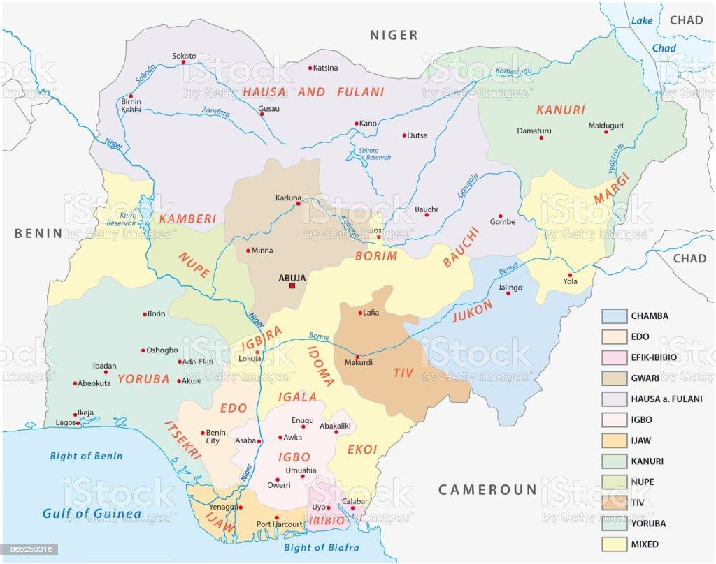 Nigeria map of the principal lingustic groups vector art illustration