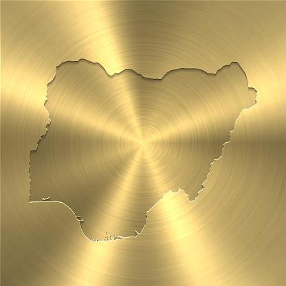 Nigeria map on gold background - Circular brushed metal texture