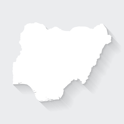 Nigeria map with long shadow on blank background - Flat Design
