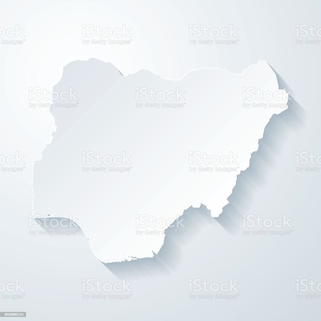 Nigeria map with paper cut effect on blank background vector art illustration