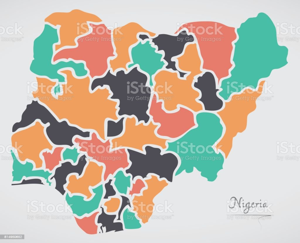Nigeria Map With States And Modern Round Shapes Stock Vector Art ...