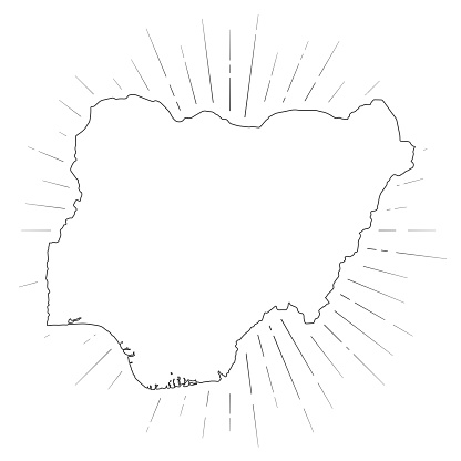 Nigeria map with sunbeams on white background