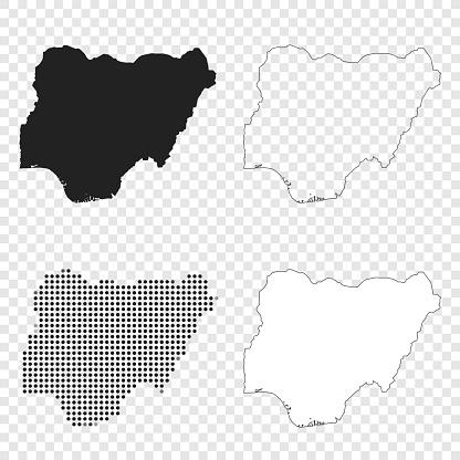 Nigeria maps for design - Black, outline, mosaic and white