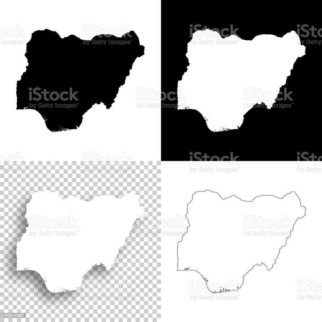 Nigeria maps for design - Blank, white and black backgrounds vector art illustration