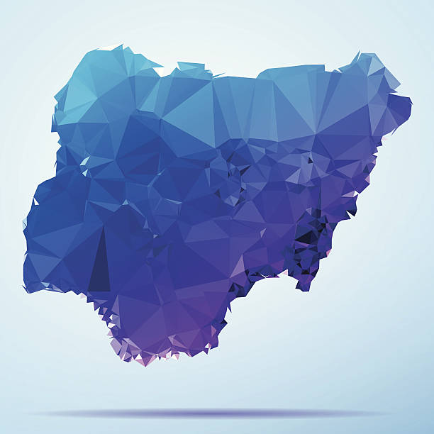 Nigeria Polygon Triangle Map Blue Abstract Polygon Triangle vector map of Nigeria. File was created in DMesh Pro and Adobe Illustrator on October 21, 2014. The colors in the .eps-file are in RGB. Transparencies used. Included files are EPS (v10) and Hi-Res JPG (5035 x 5035 px). map crystal stock illustrations