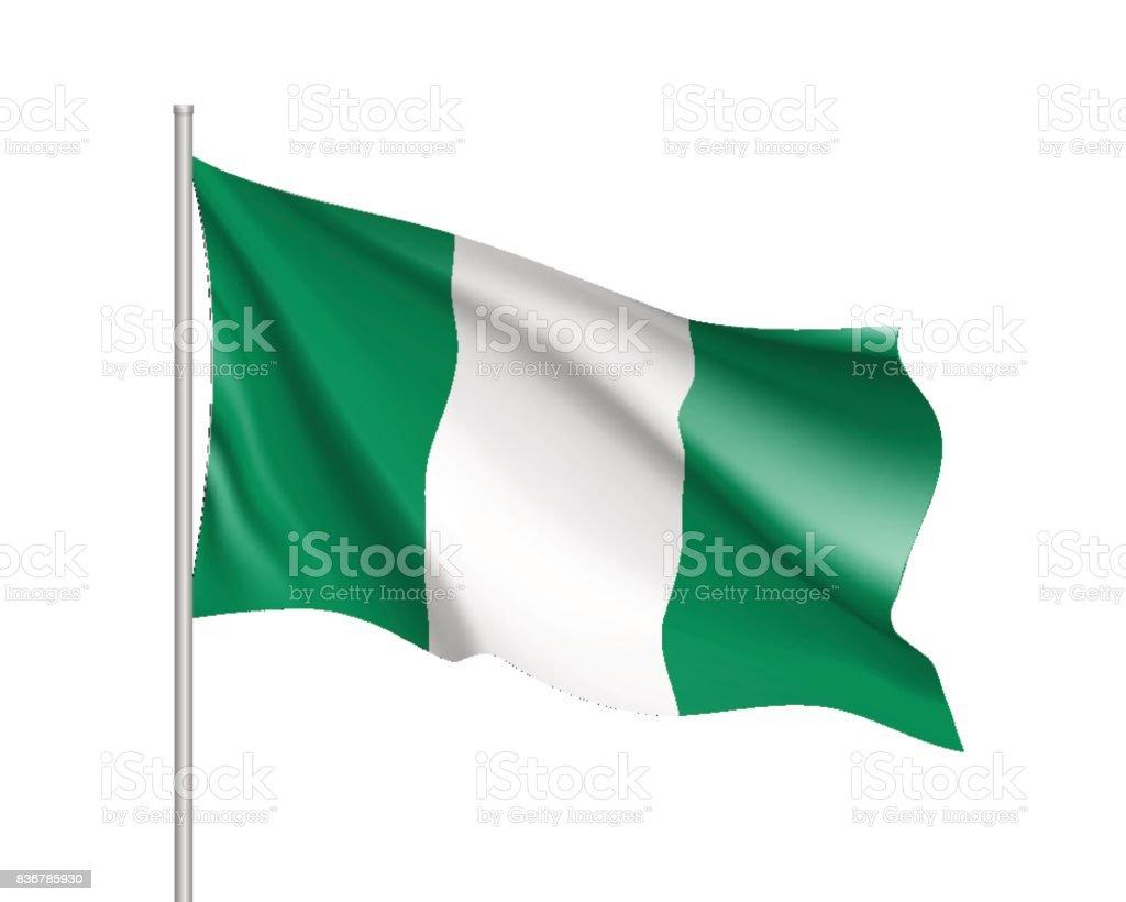 Nigeria realistic flag vector art illustration
