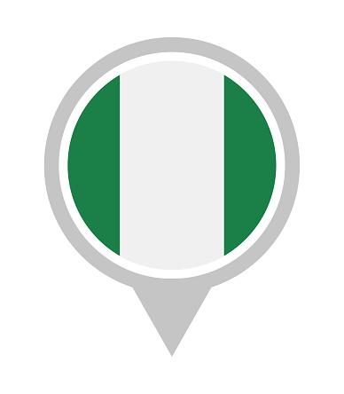Nigeria - Vector Round Flag Pin Flat Icon
