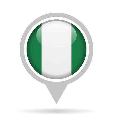 Nigeria - Vector Round Flag Pin Glossy Icon