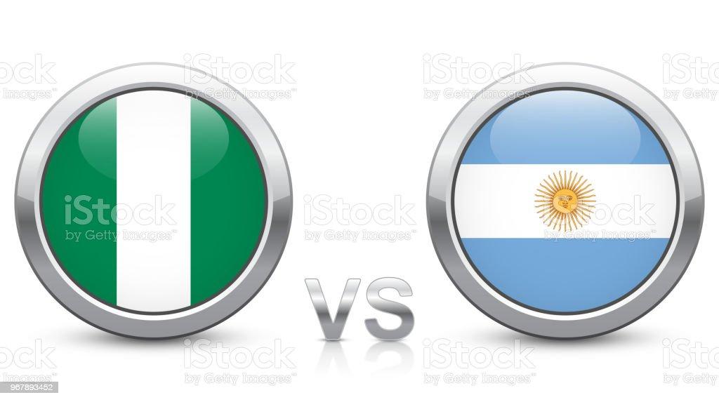 Nigeria vs Argentina - partido 39 - Grupo D - torneo de 2018. Botones iconos metálico brillante con banderas nacionales aisladas sobre fondo blanco. - ilustración de arte vectorial
