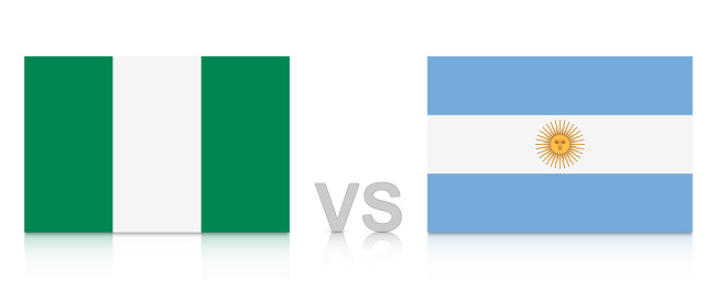 Nigeria vs. Argentina. Russia 2018. National flags with reflection isolated on white background.