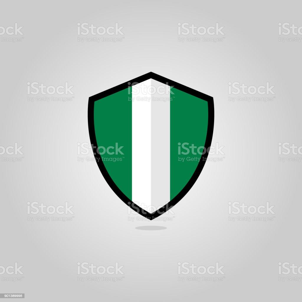 Nigerian Flag Flat Vector Shield Badge vector art illustration