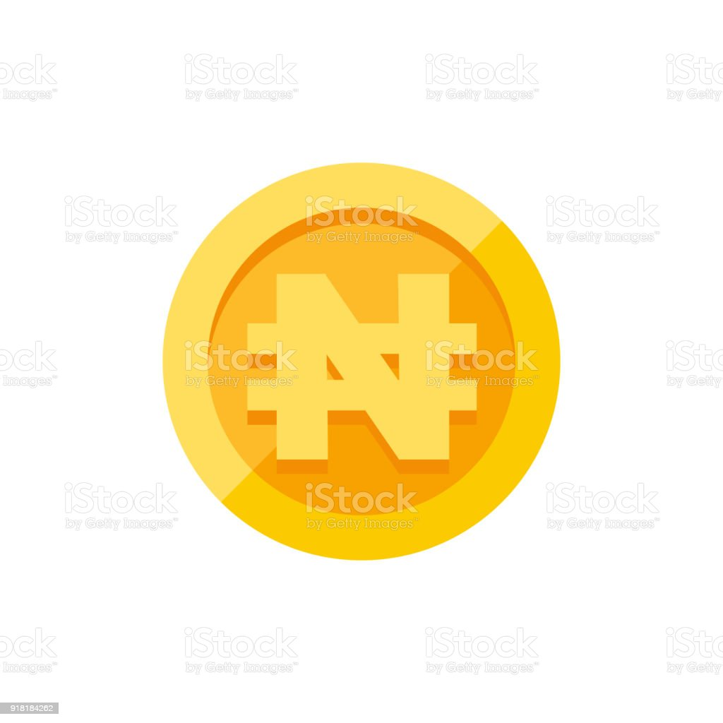Nigerian Naira Currency Symbol On Gold Coin Flat Style Stock Vector