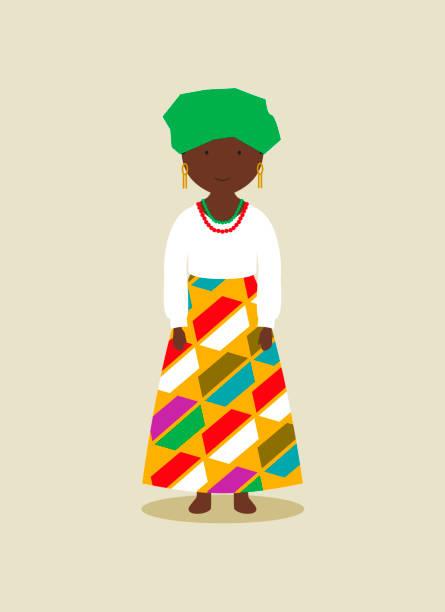 Nigerian national costume for women vector art illustration
